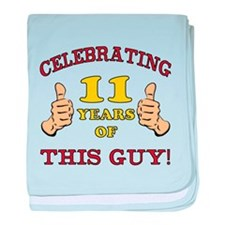 Funny 11th Birthday For Boys baby blanket