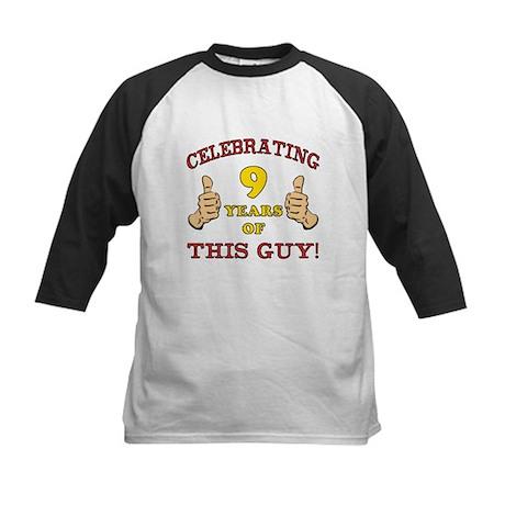 Funny 9th Birthday For Boys Kids Baseball Jersey