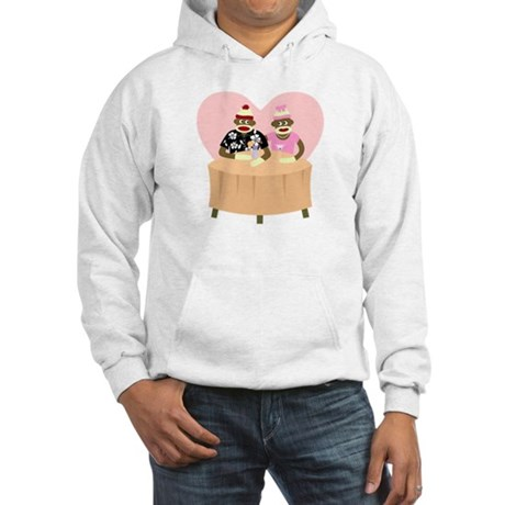 Sock Monkey Boy and Girl Love Hooded Sweatshirt