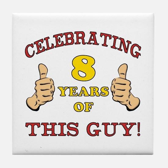 Funny 8th Birthday For Boys Tile Coaster