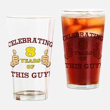 Funny 8th Birthday For Boys Drinking Glass
