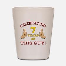 Funny 7th Birthday For Boys Shot Glass
