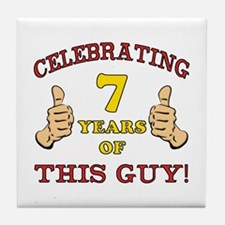 Funny 7th Birthday For Boys Tile Coaster