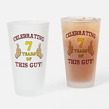 Funny 7th Birthday For Boys Drinking Glass