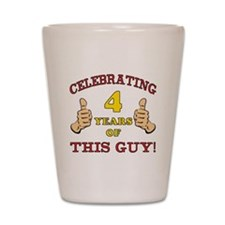 Funny 4th Birthday For Boys Shot Glass