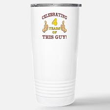 Funny 4th Birthday For Boys Travel Mug