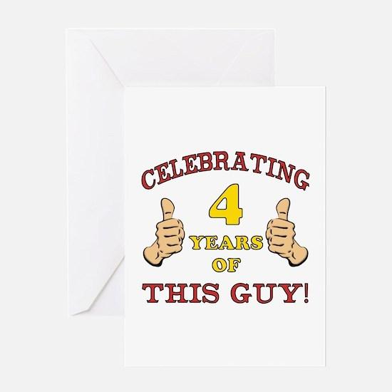 Funny 4th Birthday For Boys Greeting Card