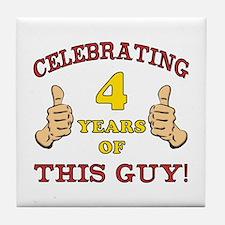 Funny 4th Birthday For Boys Tile Coaster