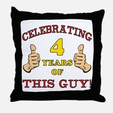 Funny 4th Birthday For Boys Throw Pillow