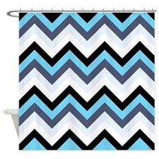 Light Blue Gray white and black chevrons Shower Cu