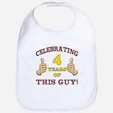 Funny 4th Birthday For Boys Bib