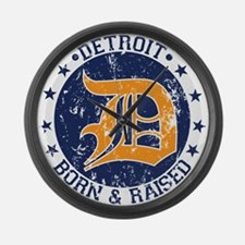 Detroit born and raised Large Wall Clock