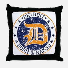 Detroit born and raised Throw Pillow