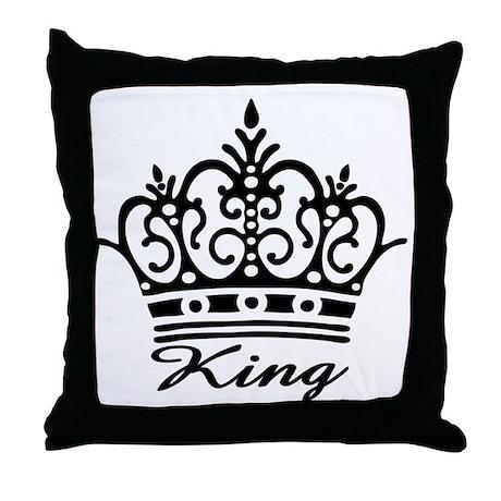 King Black Crown Throw Pillow