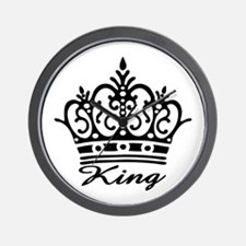 King Black Crown Wall Clock