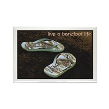 Live a Barefoot Life Rectangle Magnet (10 pack)