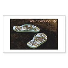 Live a Barefoot Life Rectangle Decal