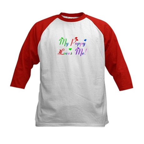 My Poppy Loves Me (des. #2) Kids Baseball Jersey
