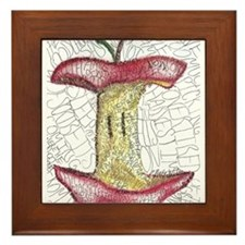 Apple Poetry Art Framed Tile