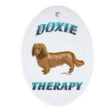 Doxie Therapy Oval Ornament