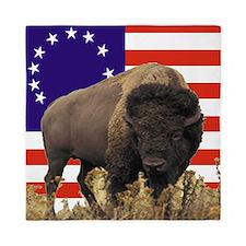 Bison USFlag Queen Duvet