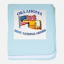 Army National Guard - OKLAHOMA w Flag baby blanket