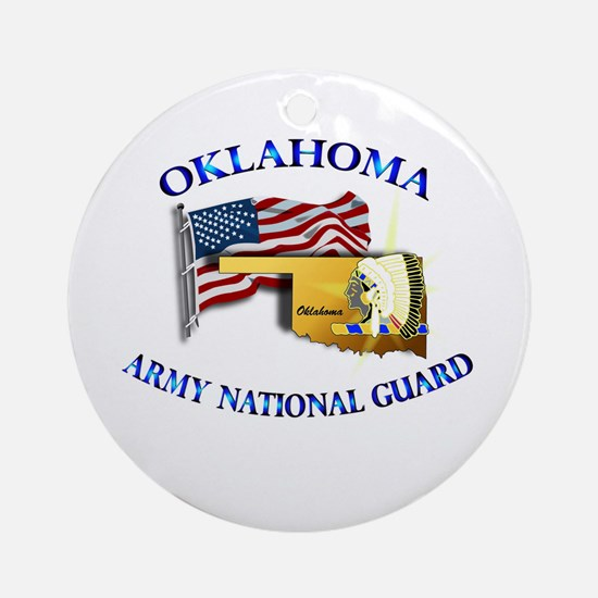 Army National Guard - OKLAHOMA w Flag Ornament (Ro