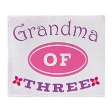 Grandma Of Three Throw Blanket