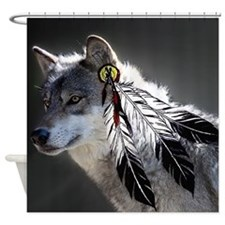 3 Feathers Wolf Shower Curtain