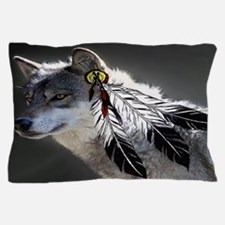 3 Feathers Wolf Pillow Case
