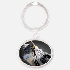 3 Feathers Wolf Oval Keychain