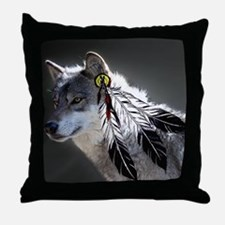 3 Feathers Wolf Throw Pillow