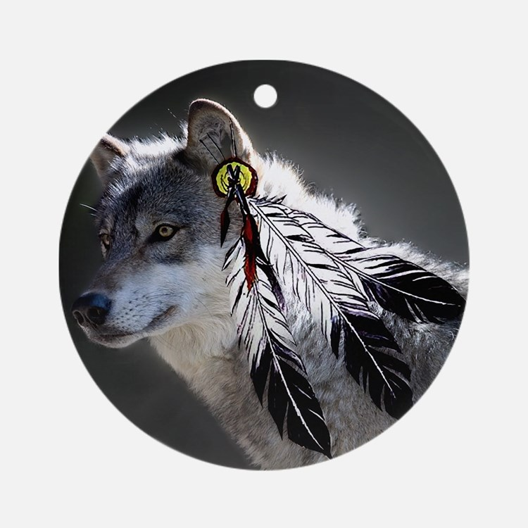 3 Feathers Wolf Ornament (Round)