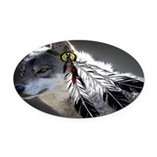 3 Feathers Wolf Oval Car Magnet