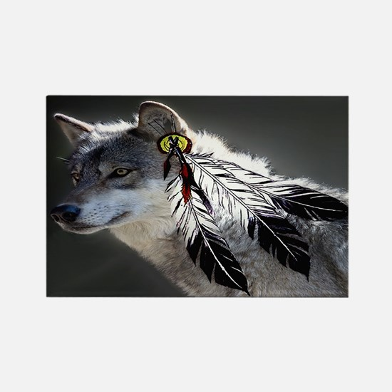 3 Feathers Wolf Rectangle Magnet
