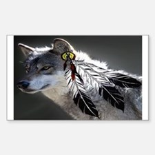 3 Feathers Wolf Decal