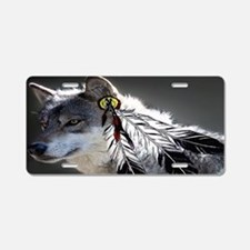 3 Feathers Wolf Aluminum License Plate