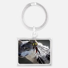 3 Feathers Wolf Landscape Keychain