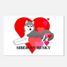 Siberian Husky Hearts Postcards (Package of 8)