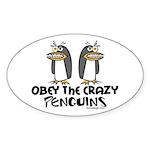 Crazy Penguins Oval Sticker