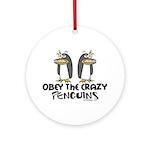 Crazy Penguins Funny Ornament (Round)