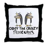Crazy Penguins Throw Pillow