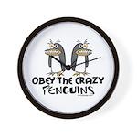 Crazy Penguins Wall Clock