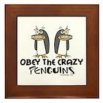 Crazy Penguins Humor Framed Tile