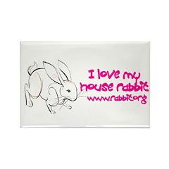 I love my house rabbit Rectangle Magnet