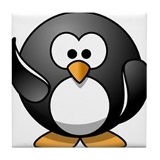 Waving Penguin Tile Coaster
