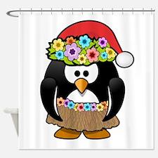 Hawaiian Christmas Penguin Shower Curtain