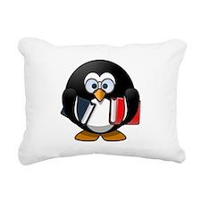 Book Worm Penguin Rectangular Canvas Pillow