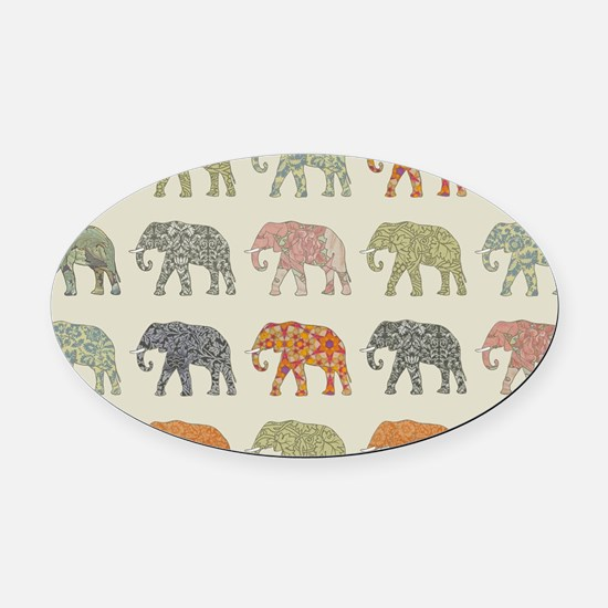 Elephant Colorful Repeating Patter Oval Car Magnet