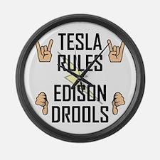 Tesla Rules Large Wall Clock